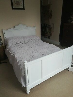 Antique French style Victorian double painted carved wood frame bed
