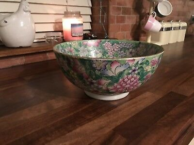 Hand Painted Floral Chinese Bowl