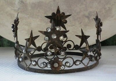 CODY FOSTER French-Style ~ JEWELED SANTO CROWN~ Aged Tin w/ Rhinestones ~ NWT!