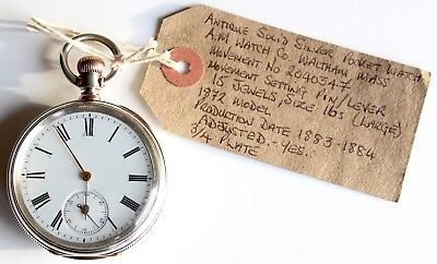 Pocket Watch - Antique - Silver -  9ct Rolled Gold - Waltham Mass - A.M Watch Co