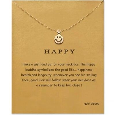 Smiley face necklace gift smile gold charm Emoji happy Jewelry inspirational
