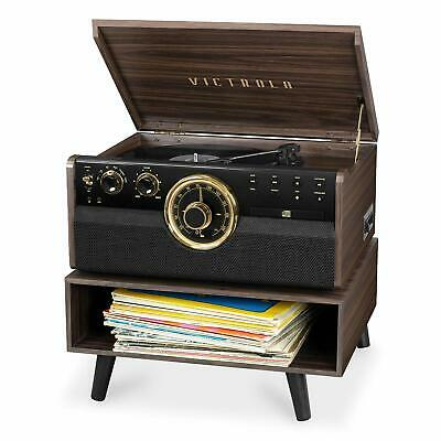 Victrola 6-in-1 Wood Bluetooth Retro Record Player Turntable with Storage Stand