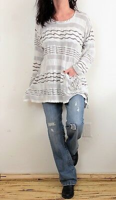 7115322626c MADEWELL COTTON LINEN L Sleeve Scoop Neck Striped Front Tie Top Blue ...