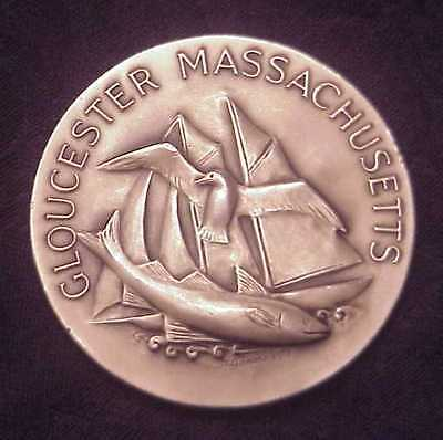 """EXTREMELY RARE 1973 GLOUCESTER, MA~350th ANNIVERSARY"""" 5.30 OZ .999+ SILVER ROUND"""