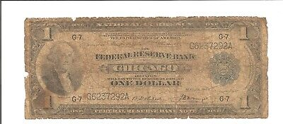 1914 $1 Federal Reserve Bank Chicago One Dollar National Currency Note