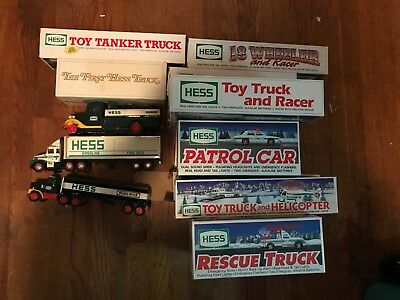 13 HESS Toy Trucks Lot, New In Box & pre-owned