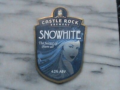 Castle Rock Snowhite real ale beer pump clip sign the fairest of them all