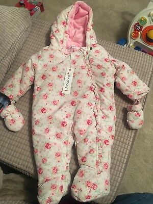 4976f9161 BABALUNO BABY GIRLS Floral Snow Suit With Mittens 3-6 Months ...