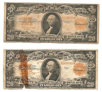 (2) lot 1922 UNITED STATES $20 GOLD COIN LARGE SIZE NOTE GOLD SEAL
