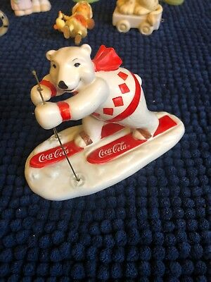 Coca-Cola Ceramic Polar Bear Figuine - Always Skiing - 1995