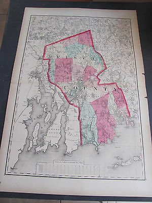 1871 Bristol County, Massachuetts Atlas Map Hand Colored