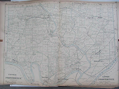 Original 1893 Montgomery County Upper Lower Providence Map Pennsylvania Atlas