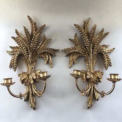 Fabulous Vintage Italian Carved Wood Hollywood Glam Tole Gilt Wheat Sconces