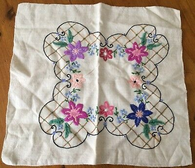 Vintage hand embroidered linen cushion slip cover, floral & trellis design