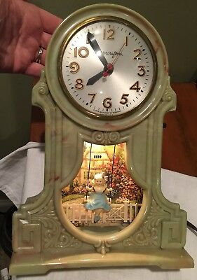 Vintage Antique  Mastercrafters Animated Lighted Swinging Girl Motion Clock