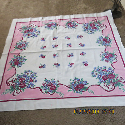 Vintage  50s Printed Cotton Tablecloth/floral print
