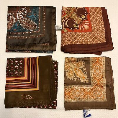 4 Scarves Large Square Totes Rain Water Repellent Brown Poly Vtg Scarf Lot