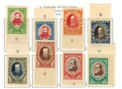 Lithuania #272-277B Complete Imperf Set 1933 MNH