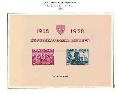 Lithuania #309b Imperf S/Sheet of 2 1939 MNH