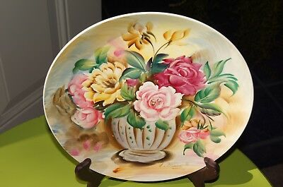 Vintage Beautiful Hand Painted  Floral Wall Plaque Plate