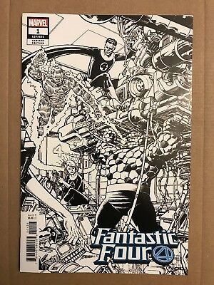 Fantastic Four #1 - 1:1000 B&W Remastered Sketch Variant By George Perez