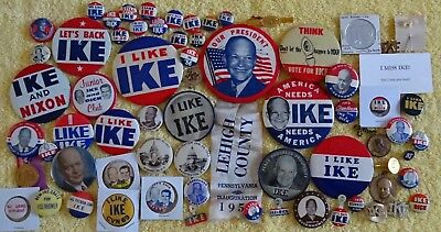Ike Nixon Eisenhower Political Campaign Pinback Button Pin GOP Republican Jugate