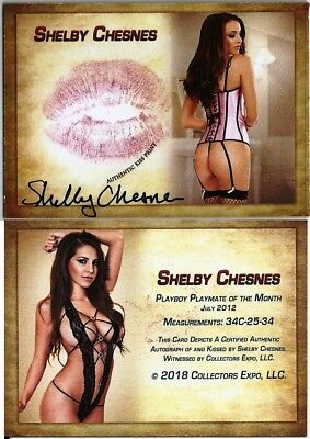 Shelby Chesnes Playboy Playmate Benchwarmer Expo Signature Autograph Kiss Lips 6