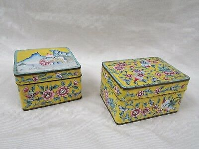 Rare Antique Pair Of Chinese Canton Enamel Over Copper Famille Rose Snuff Boxes