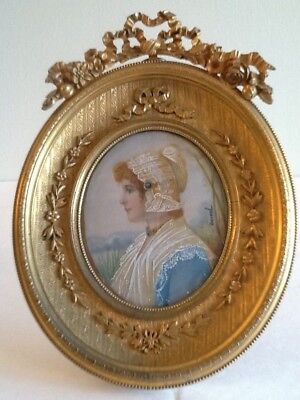 Antique French Signed Miniature Country Maiden Lace Hat & Collar Gilt Oval Frame