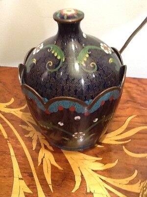 Antique Late 19Th Century  Cloisonne Scalloped Covered Jar Pot