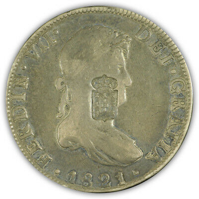 1821. Mexico. Mo. 8 Reales w/ Portugese Counter Stamp. Very Fine. Original.