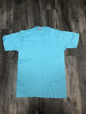 Vintage Fruit Of The Loom Vintage Blank Shirt Blue Size Small Deadstock