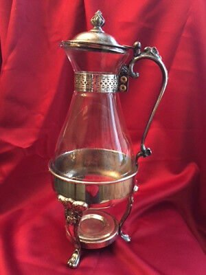 Vintage Coffee or Tea Glass silverplate carafe with chafing stand.