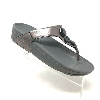 e31090baaf62 Fitflop Lunetta Pewter Leather Flip Flop Thong Toning Sandal Womens Shoe  SIZE 9