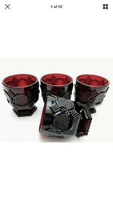 Vintage Avon 1876 Cape Cod Collection Footed Glass Set Ruby Red Set of 4 NIB