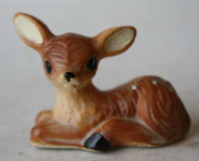 Deer-Doe-Fawn Figure Lying Down Miniature Ceramic-Porcelain Hand Painted-Vintage