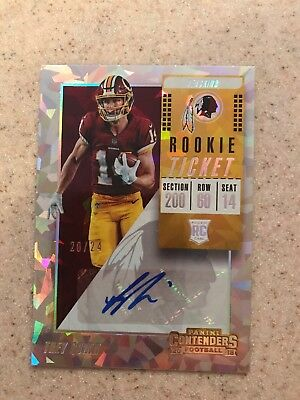 2018 Contenders Rookie ticket auto Trey Quinn Redskins cracked ice #20/24