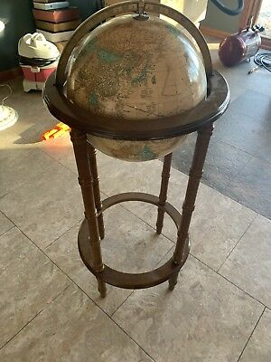 """VINTAGE CRAM'S 12"""" IMPERIAL WORLD GLOBE ON WOOD STAND Powell"""