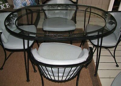 Vintage Woodard (1956-57) Wrought Iron Dining Set