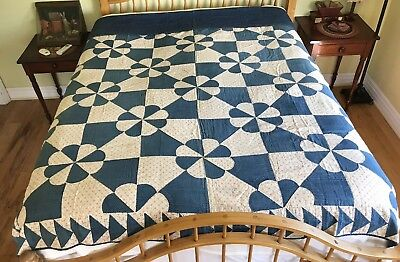 Early Antique Blue And Red Calico Hand Sewn Quilt -Indigo Star Calico Backing
