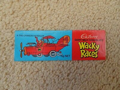 Cadbury Milk Chocolate Wacky Races vintage wrapper advertising Rare 1976