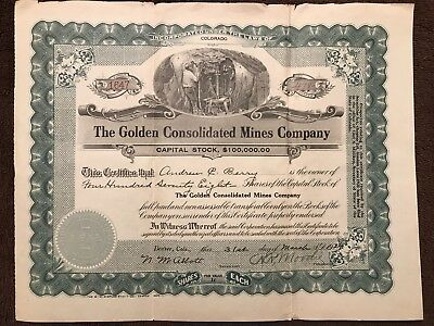 """Rare Antique Mining Stock Certificate, """"Golden Consolidated Mines Co"""", CO, 1924"""