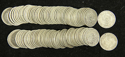Russia/Finland. Lot of 99 1 Markkaa Silver Coins. 1864-1908. Extremely Fine