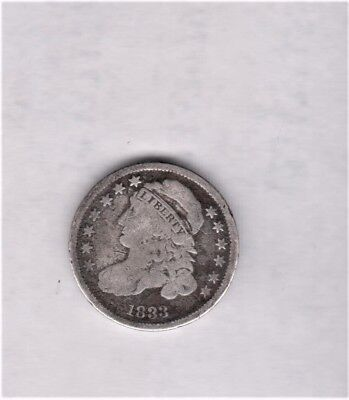 **1833 Bust Dime -Lo Mintage 485,000- Nice Detail/color Full Rim & Liberty