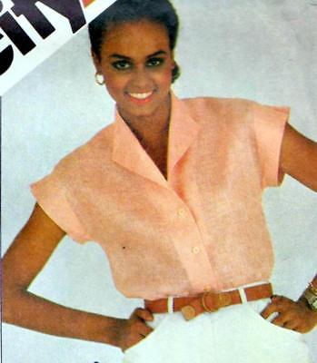 "Vintage 80s CLASSIC SHIRT Sewing Pattern UNCUT Bust 34"" Sz 10 Wing SHAWL Collar"