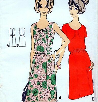 "RARE Vintage 60s Mod DRESS Sewing Pattern FF UNUSED Bust 36"" Sz 12 RETRO Revival"