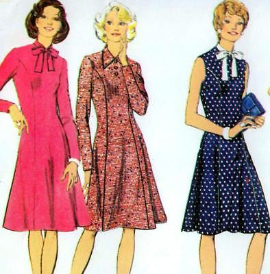 "Vintage 70s DRESS Sewing Pattern UNCUT Bust 36"" Size 12 RETRO Revival PANEL"