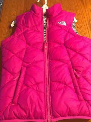 Girls North Face Reversible Vest Outerwear Down M 10-12.   Pink /  Black White.