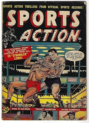 Sports Action #9 - Joe Maneely cover - Jackie Robinson, Dom Dimaggio  story -TGL