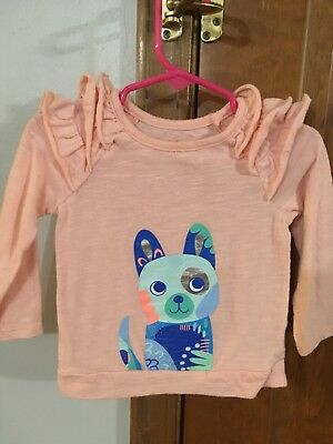 Cat and Jack 12 Month Girls Pink long sleeve shirt puppy